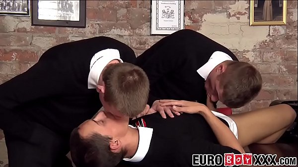 James and Skylar and Leo enjoy an office threesome together